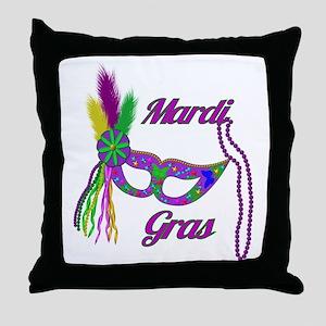 Mardi Gras Beads Mask Throw Pillow