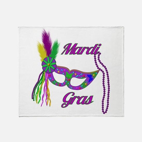Mardi Gras Beads Mask Throw Blanket