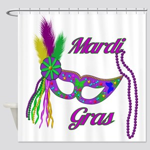 Mardi Gras Beads Mask Shower Curtain