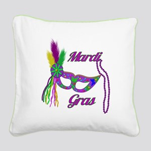 Mardi Gras Beads Mask Square Canvas Pillow
