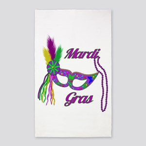 Mardi Gras Beads Mask 3'x5' Area Rug