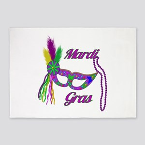 Mardi Gras Beads Mask 5'x7'Area Rug
