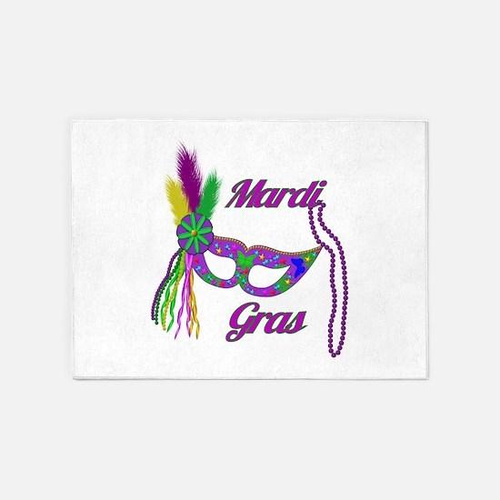 Mardi Gras Beads Mask 5'x7'Area Rug