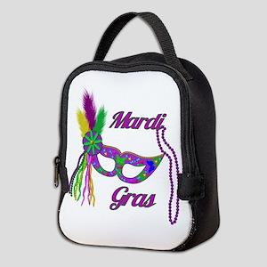 Mardi Gras Beads Mask Neoprene Lunch Bag