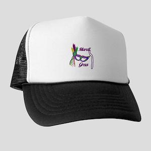 Mardi Gras Beads Mask Trucker Hat