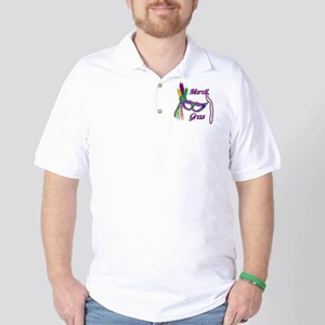 Mardi Gras Beads Mask Golf Shirt
