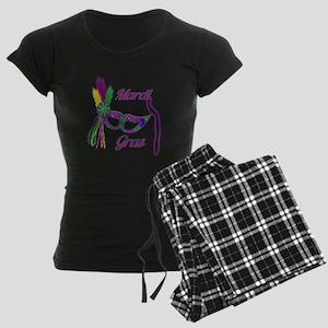 Mardi Gras Beads Mask Women's Dark Pajamas