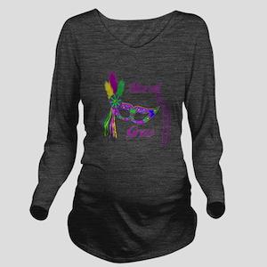 Mardi Gras Beads Mas Long Sleeve Maternity T-Shirt