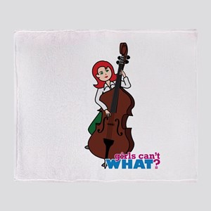 String Bass Player - Light/Red Throw Blanket
