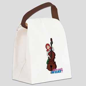 String Bass Player - Light/Red Canvas Lunch Bag
