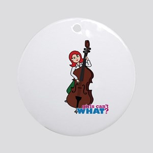 String Bass Player - Light/Red Ornament (Round)