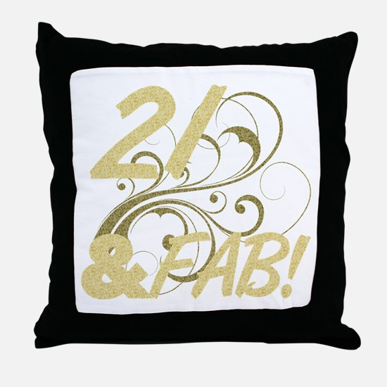 21 And Fabulous (Glitter) Throw Pillow