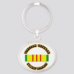 Vietnam Veteran - Service Medal Oval Keychain