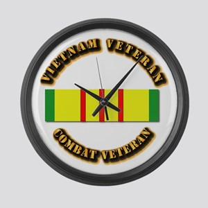 Vietnam Veteran - Service Medal Large Wall Clock