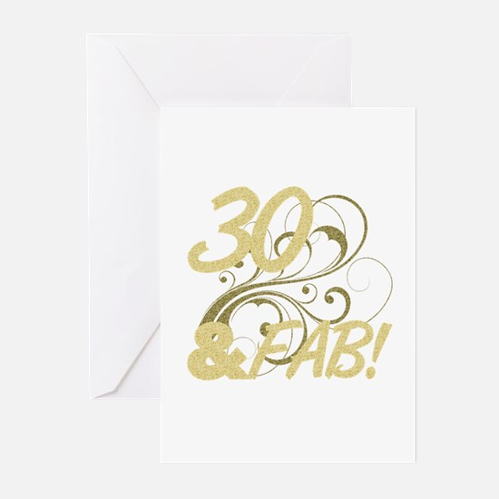 30 And Fabulous (Glitter Greeting Cards (Pk of 10)