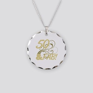 50 And Fabulous (Glitter) Necklace Circle Charm