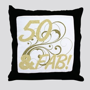 50 And Fabulous (Glitter) Throw Pillow