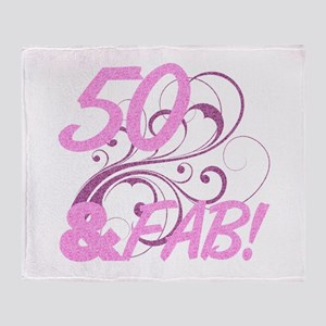 50 And Fabulous (Glitter) Throw Blanket