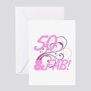 50 And Fabulous (Glitter) Greeting Card