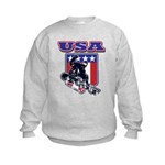 Patriotic USA Snowboarder Kids Sweatshirt