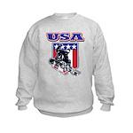 Patriotic USA Snowboarder Kids Sweatshirt