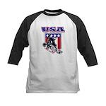 Patriotic USA Snowboarder Kids Baseball Jersey