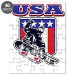 Patriotic USA Snowboarder Puzzle