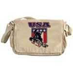Patriotic USA Snowboarder Messenger Bag