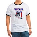 Patriotic USA Snowboarder Ringer T