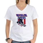Patriotic USA Snowboarder Women's V-Neck T-Shirt