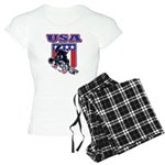 Patriotic USA Snowboarder Women's Light Pajamas