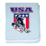 Patriotic USA Snowboarder baby blanket