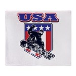 Patriotic USA Snowboarder Throw Blanket