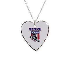 Patriotic USA Snowboarder Necklace