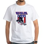 Patriotic USA Snowboarder White T-Shirt