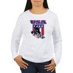 Patriotic USA Snowboar Women's Long Sleeve T-Shirt