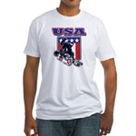 Patriotic USA Snowboarder Fitted T-Shirt
