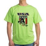Patriotic USA Snowboarder Green T-Shirt