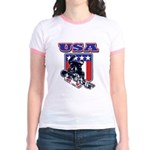 Patriotic USA Snowboarder Jr. Ringer T-Shirt