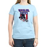 Patriotic USA Snowboarder Women's Light T-Shirt
