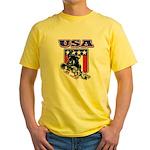Patriotic USA Snowboarder Yellow T-Shirt