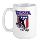 Patriotic USA Snowboarder Large Mug