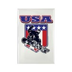 Patriotic USA Snowboarder Rectangle Magnet