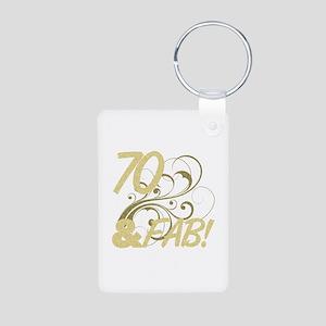 70 And Fabulous (Glitter) Aluminum Photo Keychain