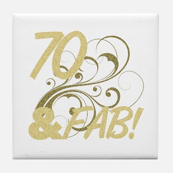 70 And Fabulous (Glitter) Tile Coaster
