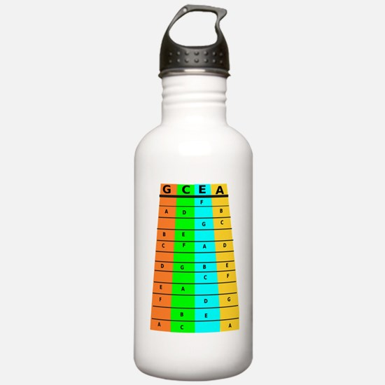Ukulele Frets And Notes Water Bottle