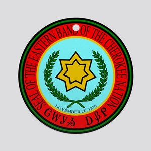 Eastern Band Of The Cherokee Seal Ornament (Round)