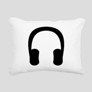 Black Headphones Rectangular Canvas Pillow