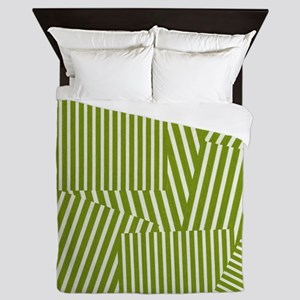 Drab Green Spring Stripe Queen Duvet