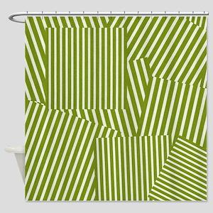 Drab Green Spring Stripe Shower Curtain